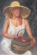 Woman w Basket WIP 2 detail