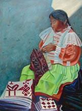 "Lilibeth André, ""La Costurera"", Oil on canvas, 48"" x 36"""