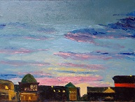 Art by Lilibeth Andre, Meyerland Sunset, oil, 18x24