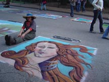 Lilibeth Andre, 2008 Houston Via Colori, a detail of Botticelli's Venus, pastel on pavement.