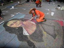 Lilibeth Andre, 2011 Houston Via Colori, Self-Portrait, pastel on 10 foot by 10 foot pavement.