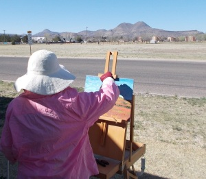 Lilibeth Andre paints in West Texas.