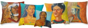 From The Lady of The Turquoise Pendant Collection, art throw pillows by Lilibeth Andre