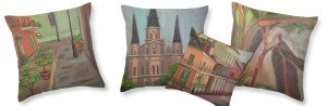From the New Orleans French Quarter Collection, art throw pillos by Lilibeth Andre