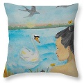 Orchid Flower Love on art throw pillow, by Lilibeth Andre