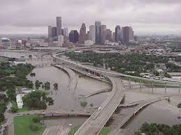 2001, Downtown Houston after Tropical Storm Allison.