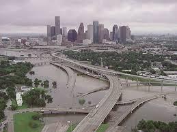 2001, Downtown Houston after Tropical Storm Allison.