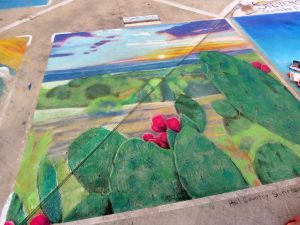 Hill Country Sunrise, pastel on pavement by Lilibeth Andre. Photo reference by Samuel Beavers. Photograph by Anat Ronan