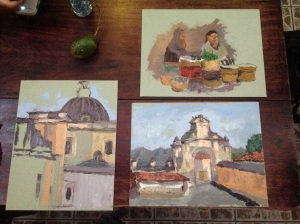 Today's trio of paintings I sketched.
