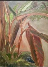 """Courtyard Bananas"", Lilibeth Andre, oil, 16x12"