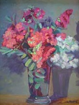 """""""Crepe Myrtles in Glass"""", Lilibeth Andre, oil, 16x12"""