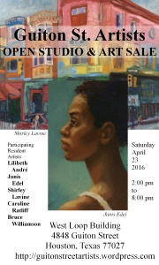 Your invitation to the Open Studios and Art Sale on April 23, 2016. Guiton St. Artists